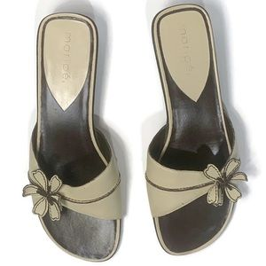 Maripe Sandals Guitar Flower Slide Mules Ivory
